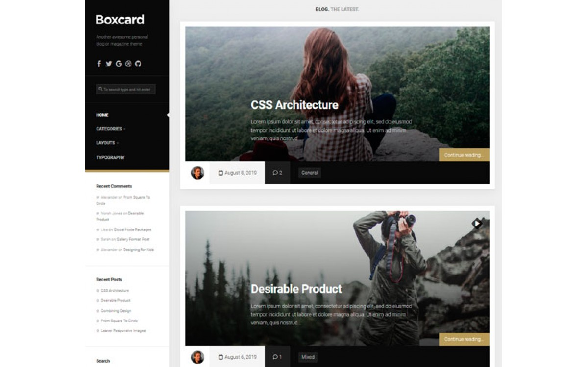 Шаблон Boxcard на  WordPress